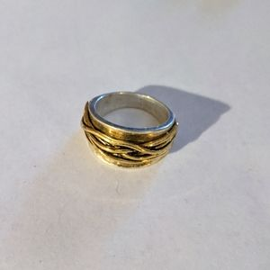 Lia Sophia silver/gold rope ring size 8 2 tone
